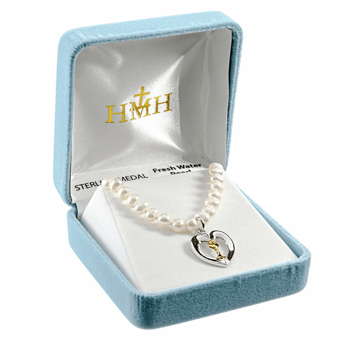 HMH Religious Communion Heart Chalice Freshwater Pearls Necklace