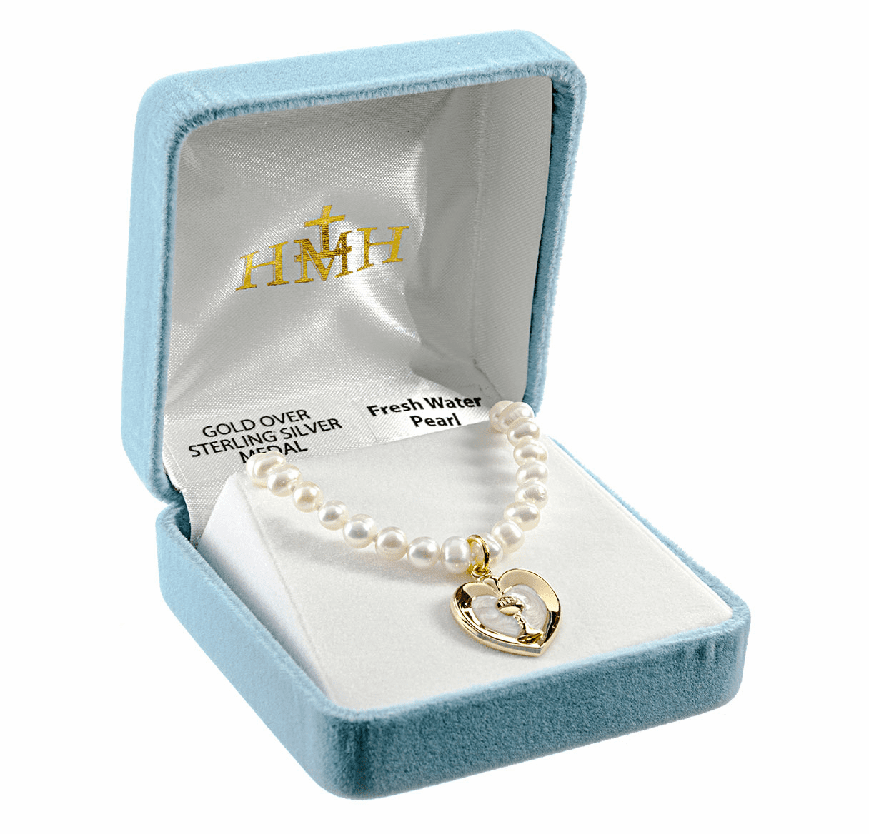 HMH Religious Communion Heart Chalice Sterling Freshwater Pearls Necklace