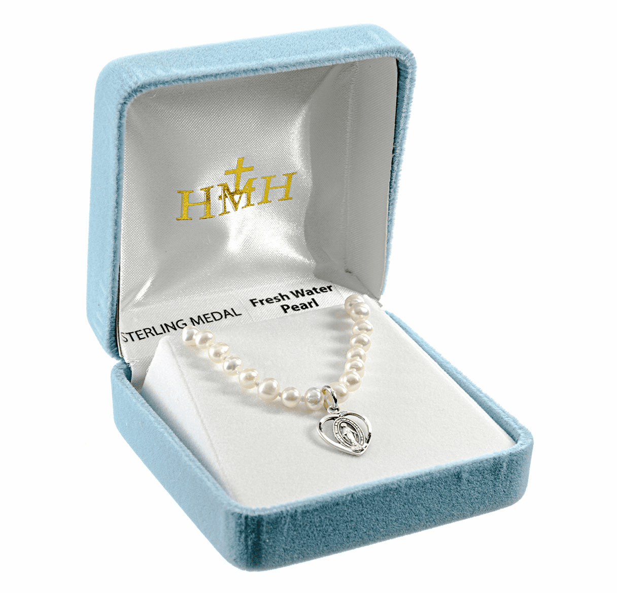 HMH Religious Communion Sterling Silver Miraculous Medal Freshwater Pearls Necklace