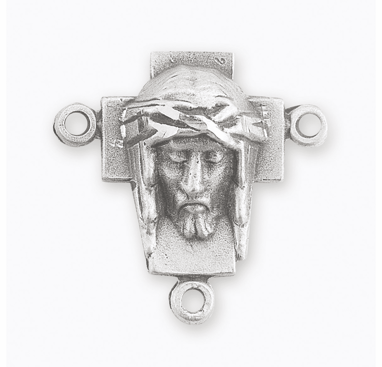 HMH Religious Cross with the Head of Christ Sterling Silver Rosary Center