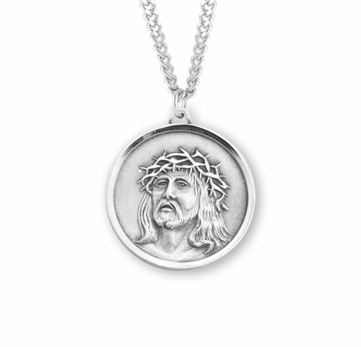 HMH Religious Crown of Throns Jesus Christ in Agony Round Medal Sterling Silver Necklace