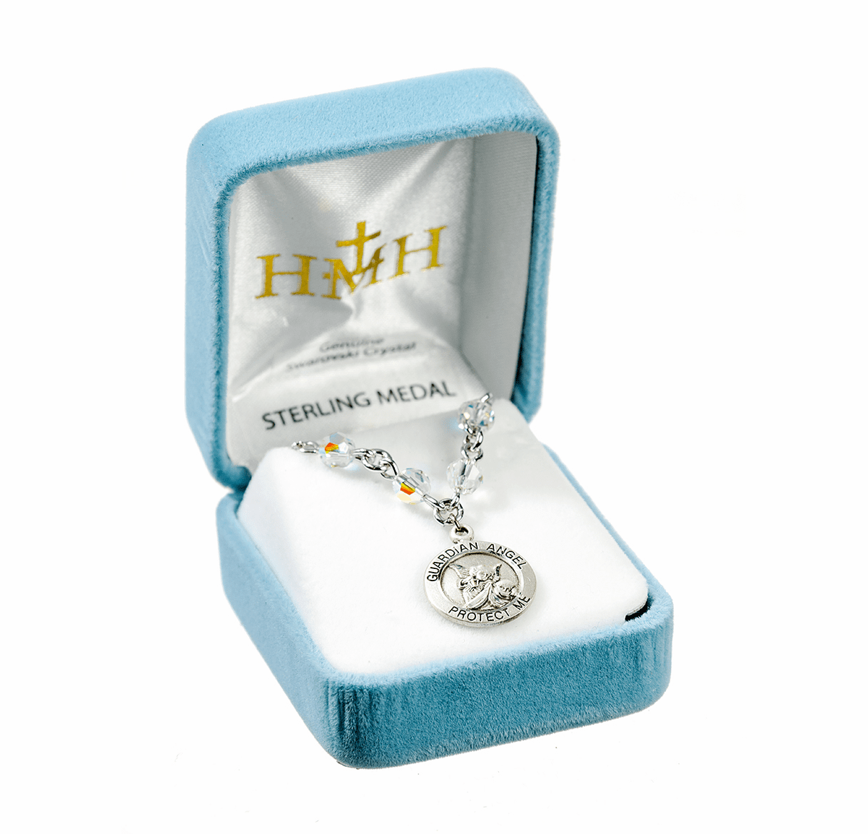 HMH Religious Crystal Guardian Angel Necklace
