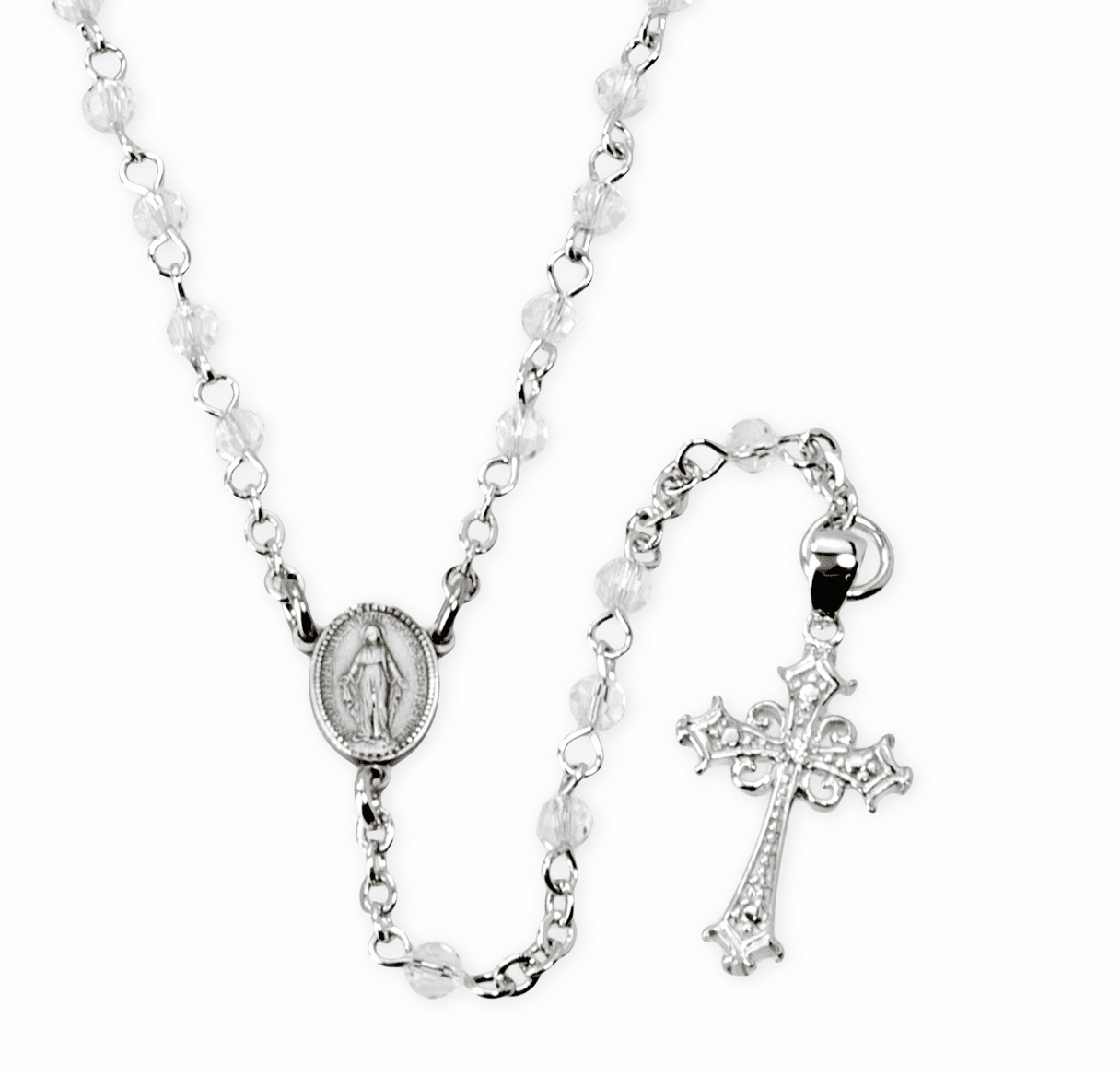 HMH Religious Crystal Rosary Necklace w/Cubic Zirconia Cross Sterling Silver Beaded Necklace