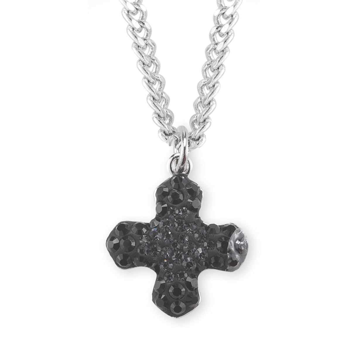 HMH Religious Crystal Silver and Jet Greek Cross Pendant