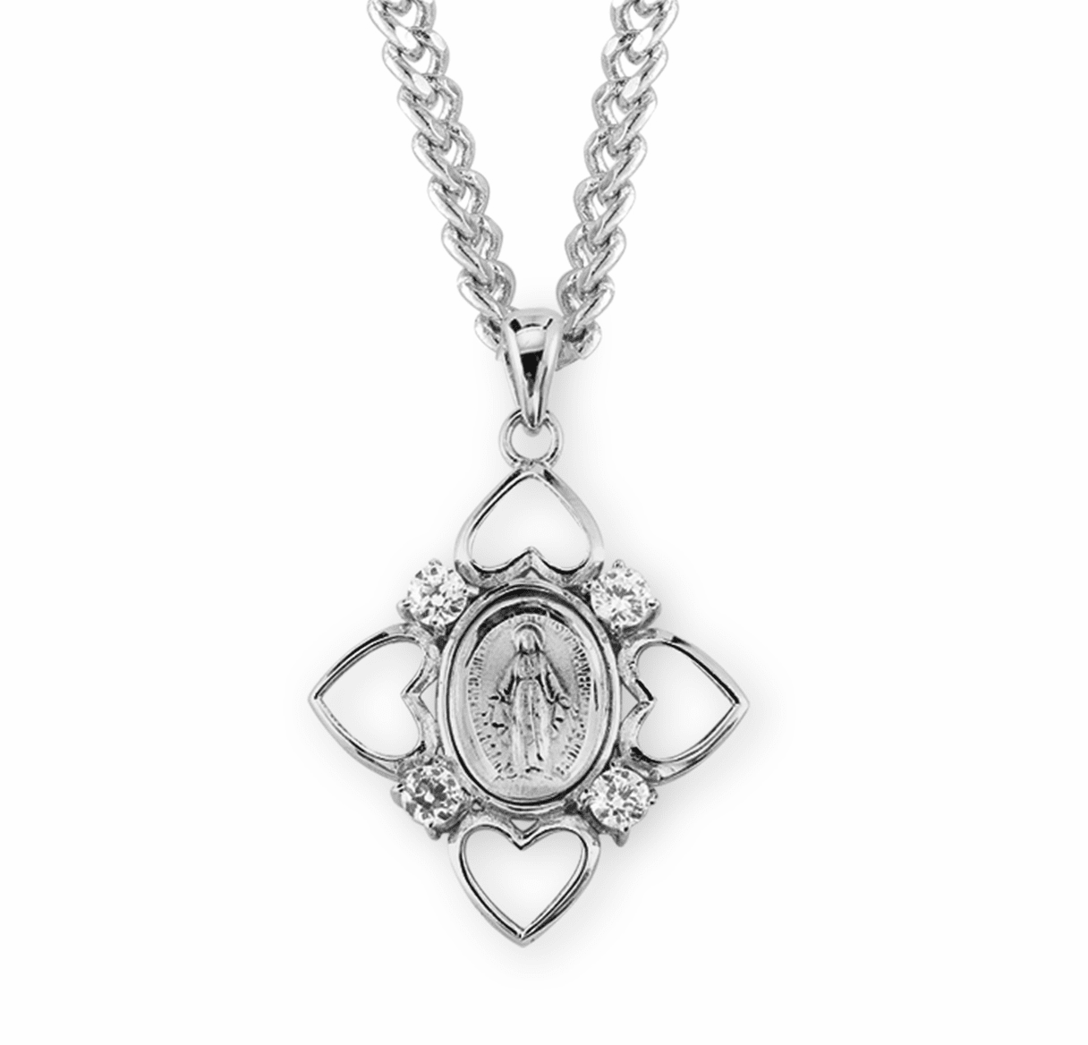 HMH Religious Crystal Sterling Silver Miraculous Medal Necklace