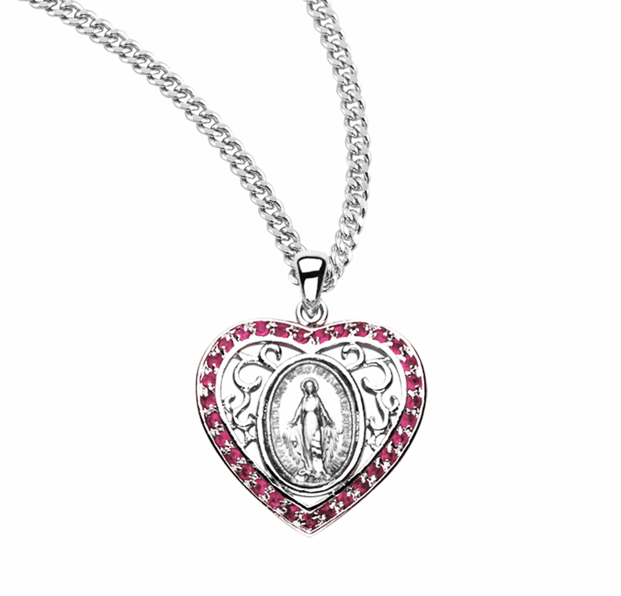 HMH Religious Cubic Zircon and Crystal Miraculous Medal Pendant Necklaces