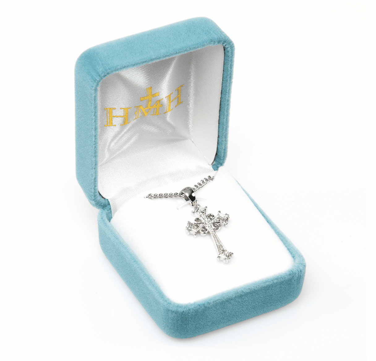 HMH Religious Cubic Zircon Crystal Sterling Silver Detailed Cross Pendant Necklace