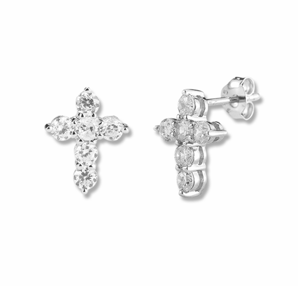 HMH Religious Cubic Zircons Crystal Cross Sterling Silver Earrings