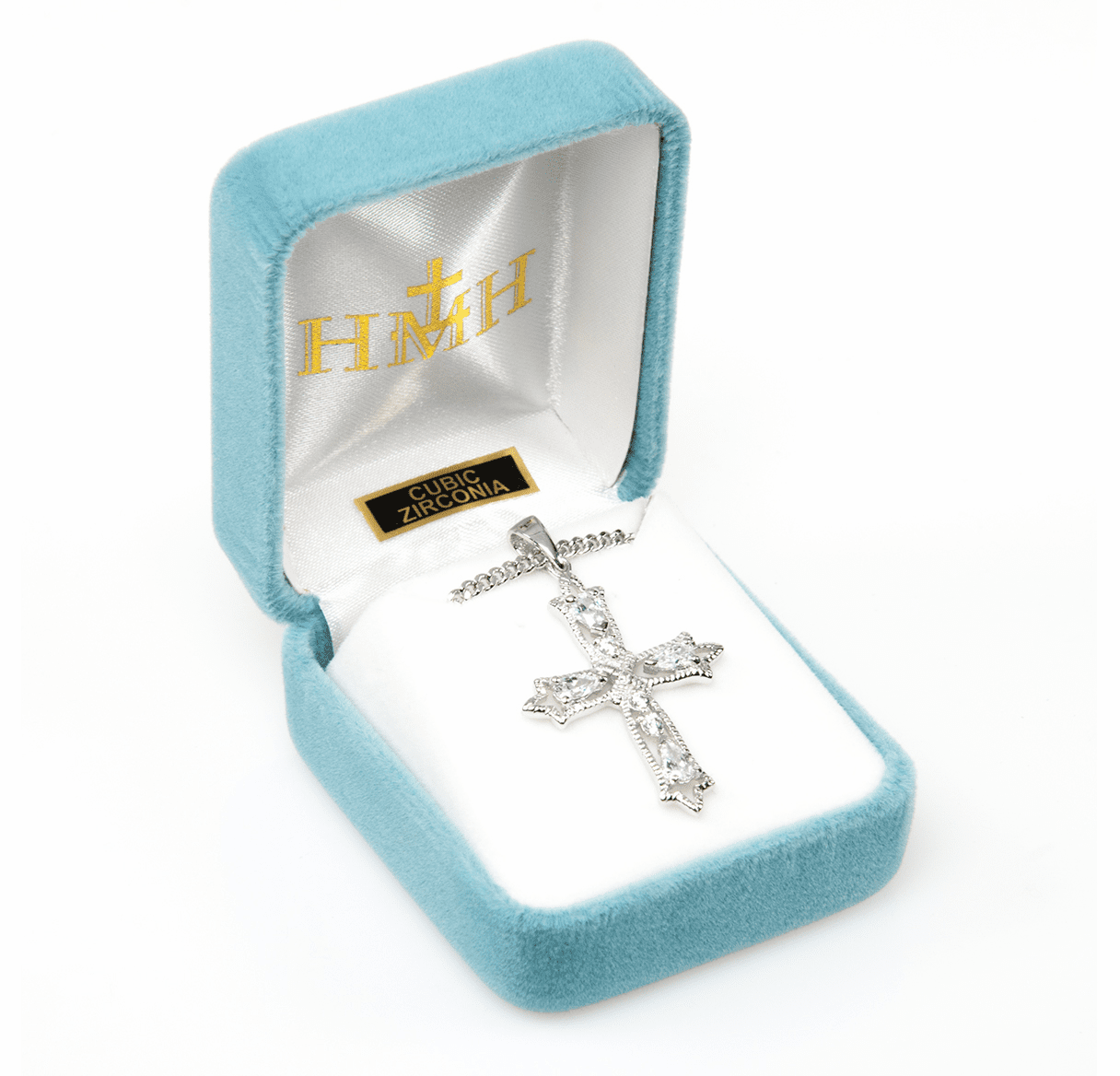 HMH Religious Detailed Sterling Silver Zircon Crystal Cross Pendant Necklace