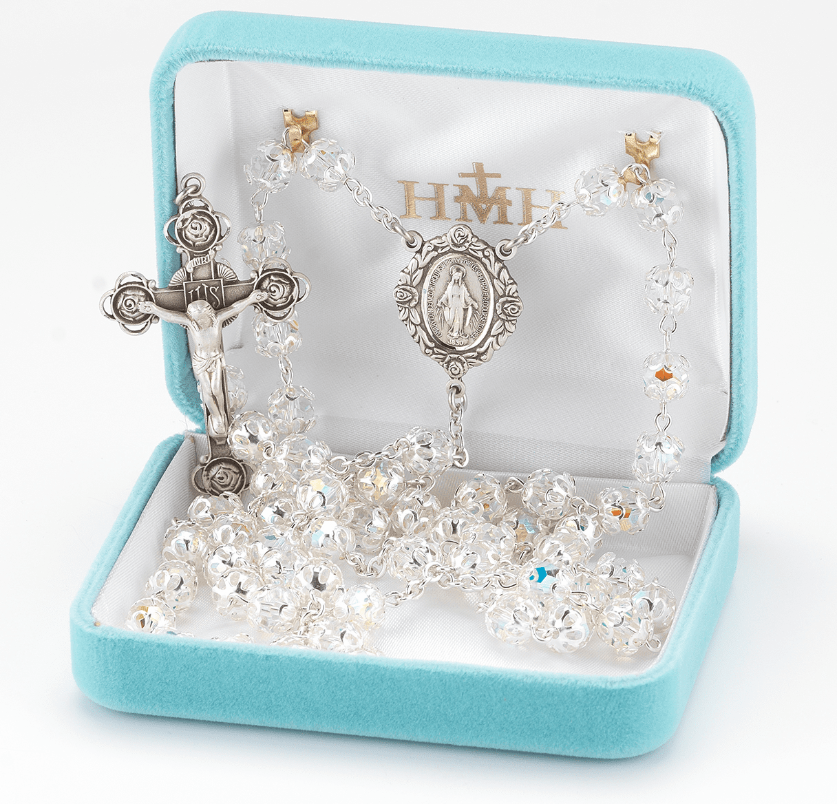 HMH Religious Double Filigree Capped Swarovski Crystal Sterling Silver Rosary