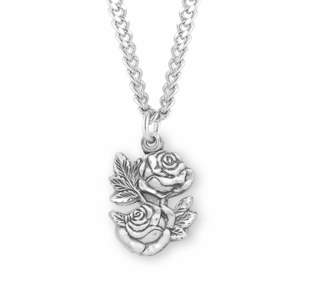 HMH Religious Double Rose Slide Miraculous Sterling Necklace