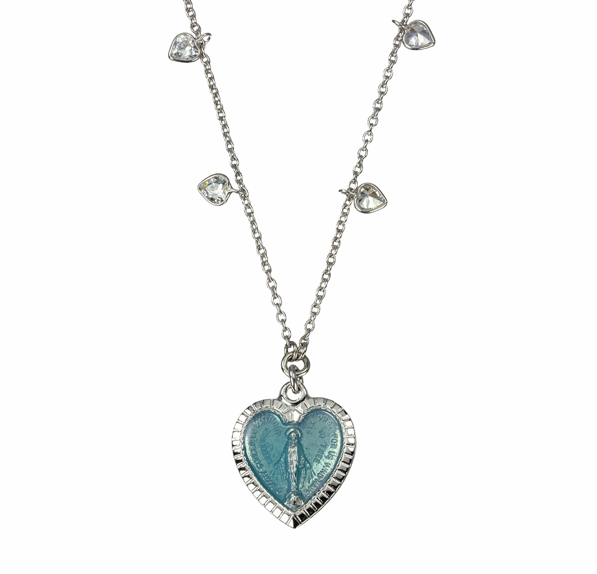 HMH Religious Enameled Heart Miraculous Sterling Necklace