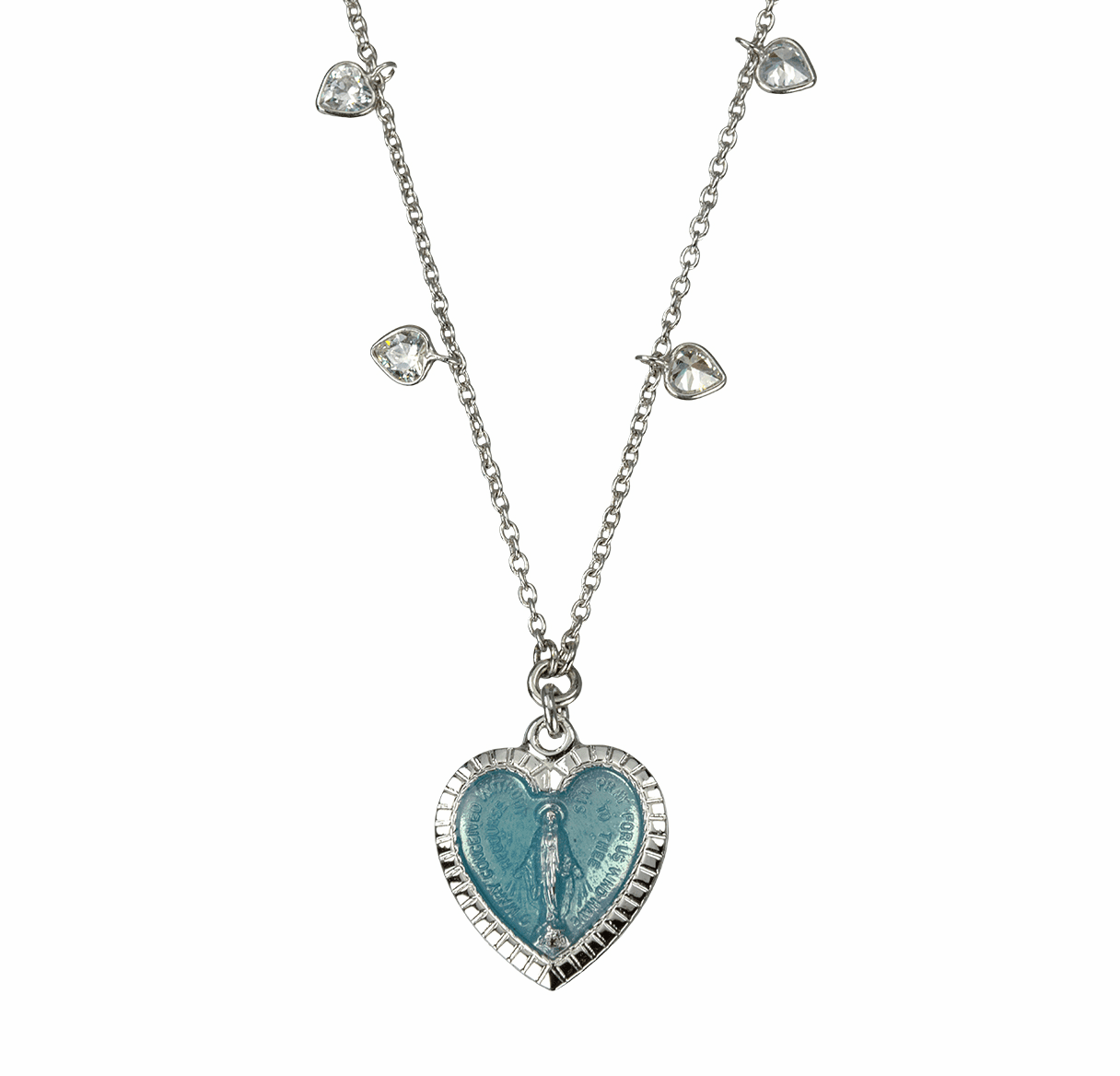 HMH Religious Enameled Heart Shaped Miraculous Medal Sterling Silver Beaded Necklace