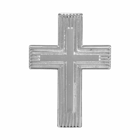 HMH Religious Engraved Double Cross Sterling Silver Lapel Pin w/Deluxe Screw