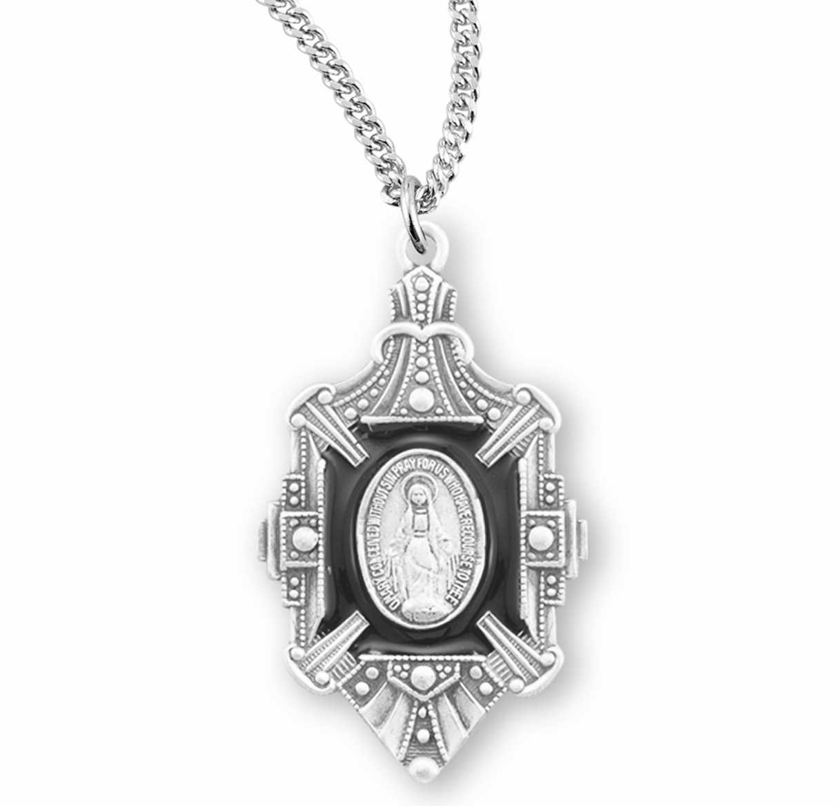 HMH Religious Fancy Black Enameled Sterling Miraculous Medal Necklace