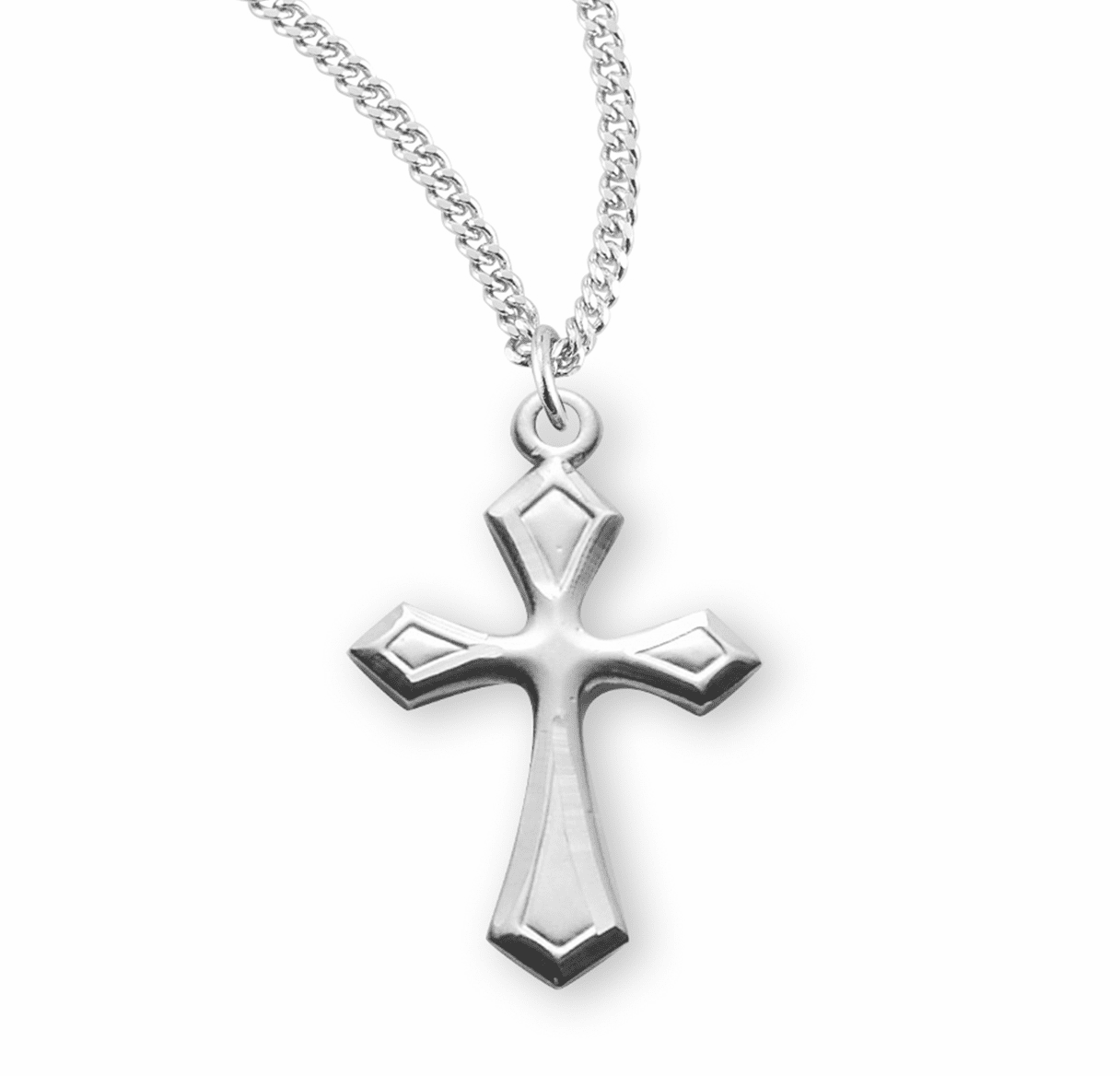 HMH Religious Fancy Flared Sterling Silver Cross with Chain