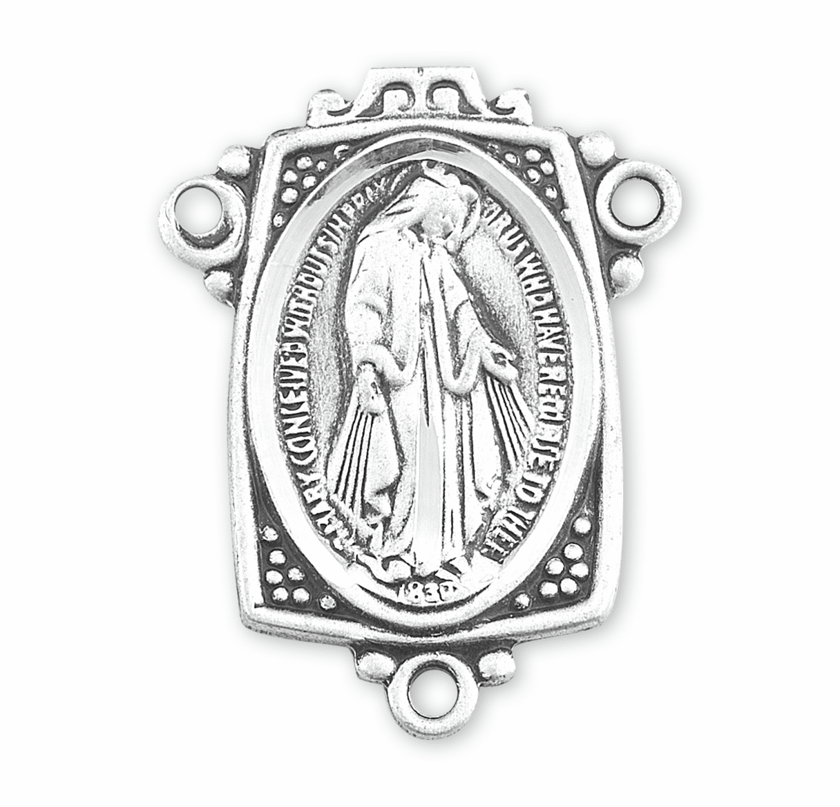 HMH Religious Fancy Miraculous Medal Sterling Silver Rosary Center