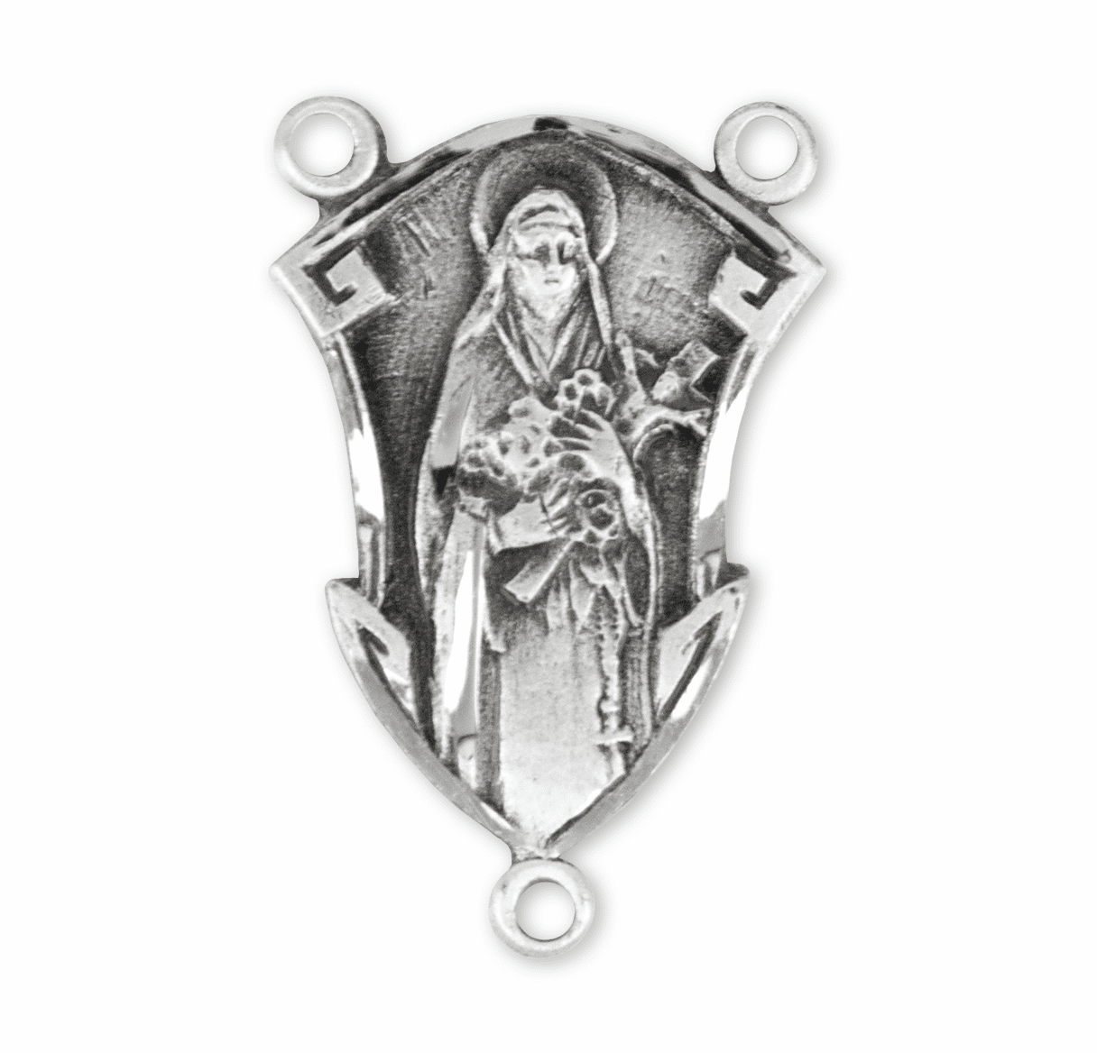 HMH Religious Fancy St Therese Sterling Silver Rosary Center