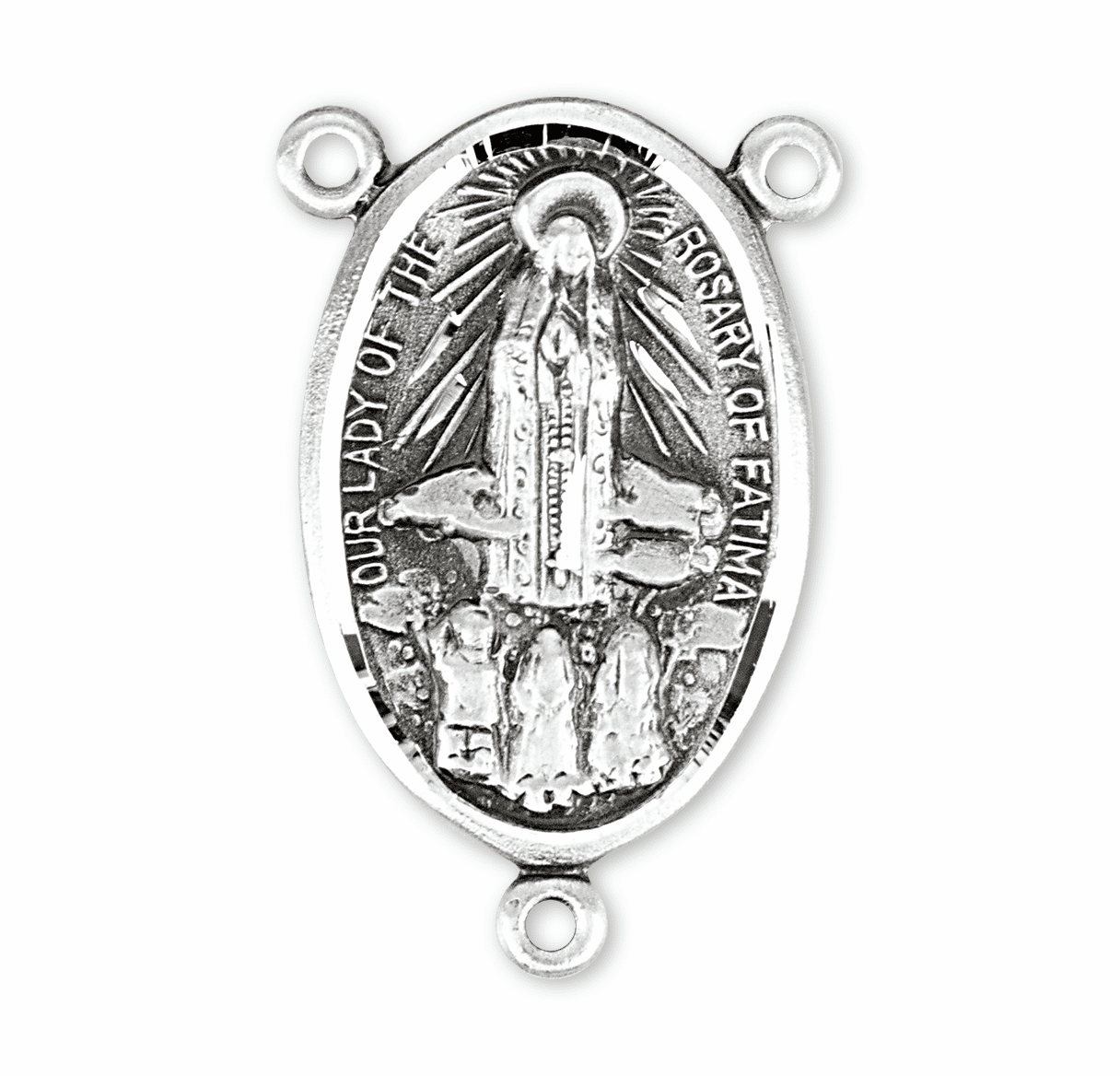 HMH Religious Fatima Our Lady of the Rosary Sterling Silver Rosary Center