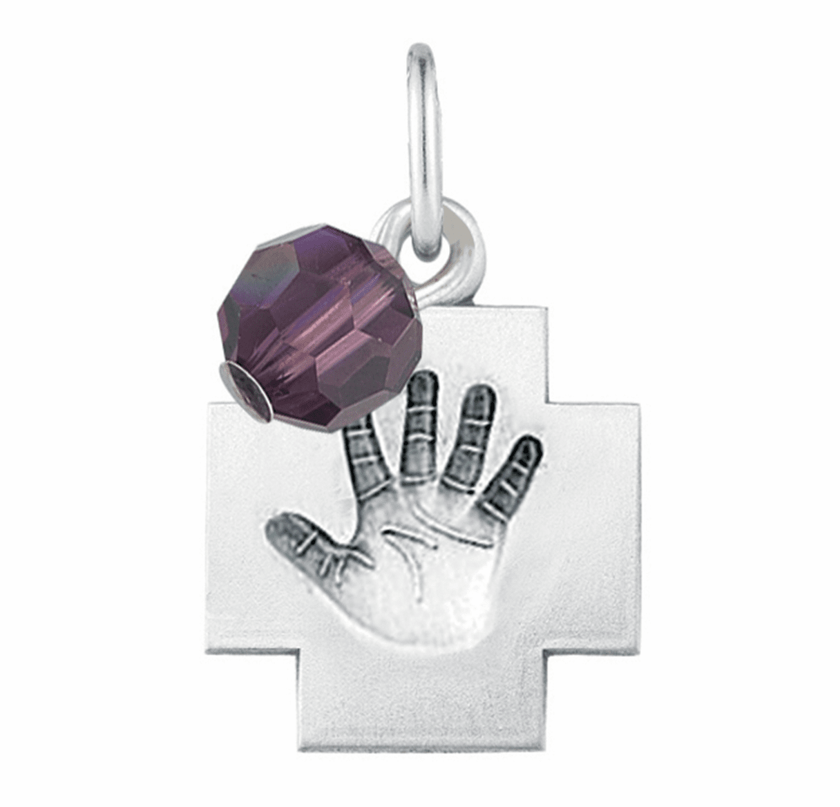 HMH Religious February Amethyst Baby Hand Print Necklace