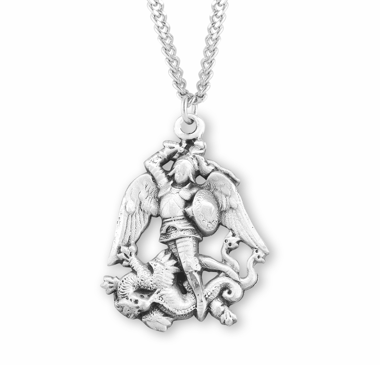 HMH Religious Figure Shaped St Michael Sterling Silver Medal Necklace