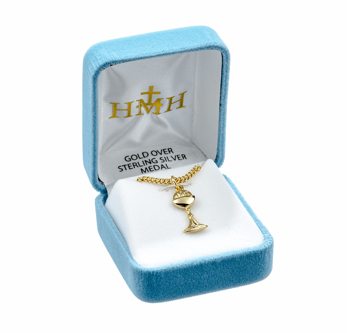 HMH Religious First Holy Communion Gold Chalice Medal Necklace