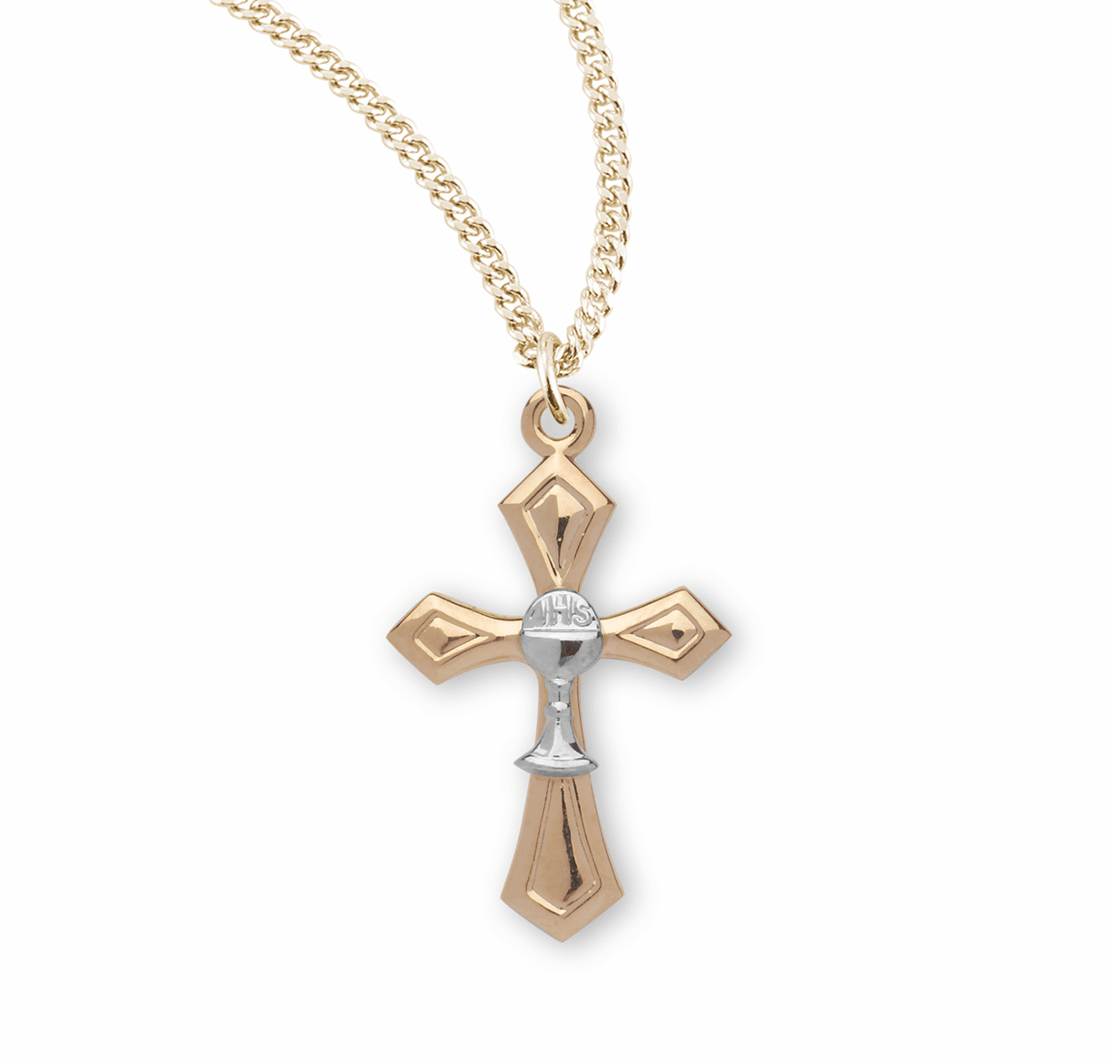 HMH Religious First Holy Communion Gothic Cross w/Tiny Chalice Necklace
