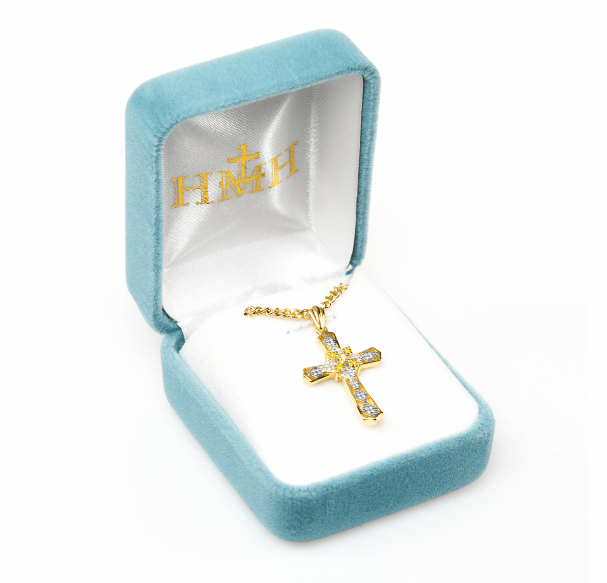 HMH Religious Flared End Gold over Sterling Silver Cubic Zircon Crystal Cross Pendant Necklace