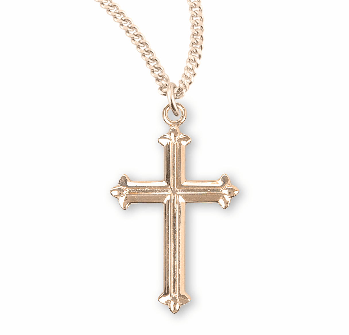 HMH Religious Fleur De Lis Tipped Gold Over Sterling Silver Cross Necklace