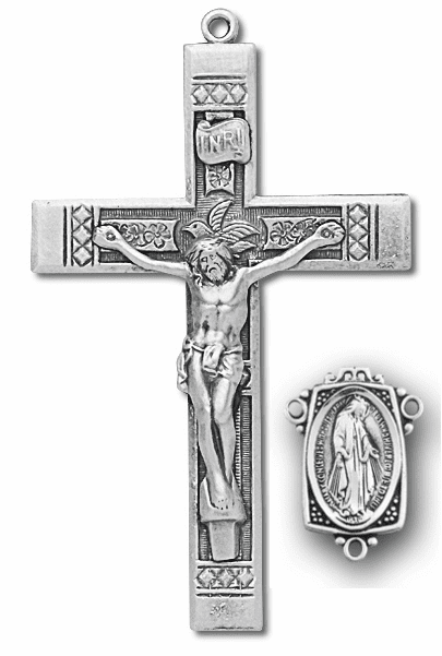 HMH Religious Floral Sterling Silver Crucifix and Centerpiece Rosary Making Set