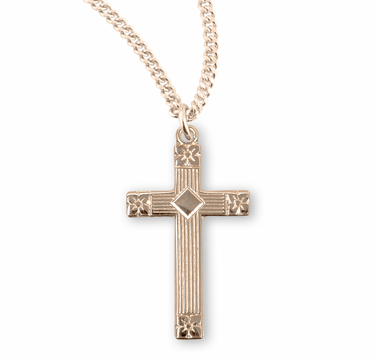 HMH Religious Flower Tipped Gold over Sterling Silver Cross Necklace