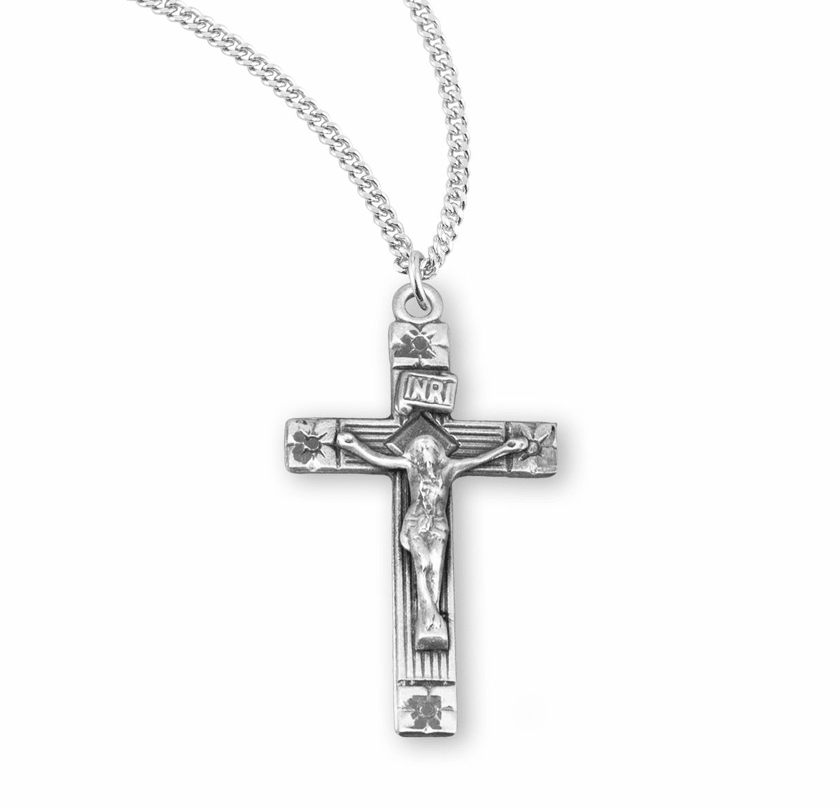 HMH Religious Flower Tipped Sterling Silver Crucifix with Chain