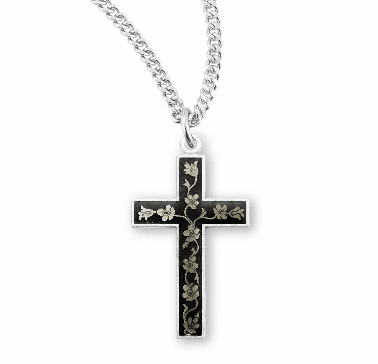 HMH Religious Flowered Black Enameled Sterling Silver Cross Pendant