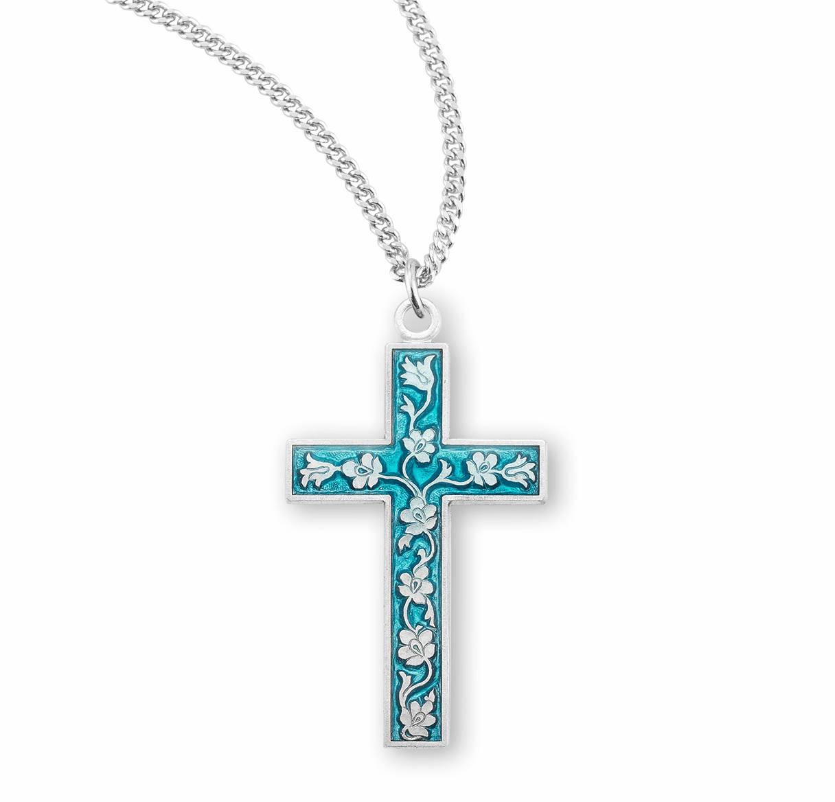 HMH Religious Flowered Blue Enameled Sterling Silver Cross Pendant