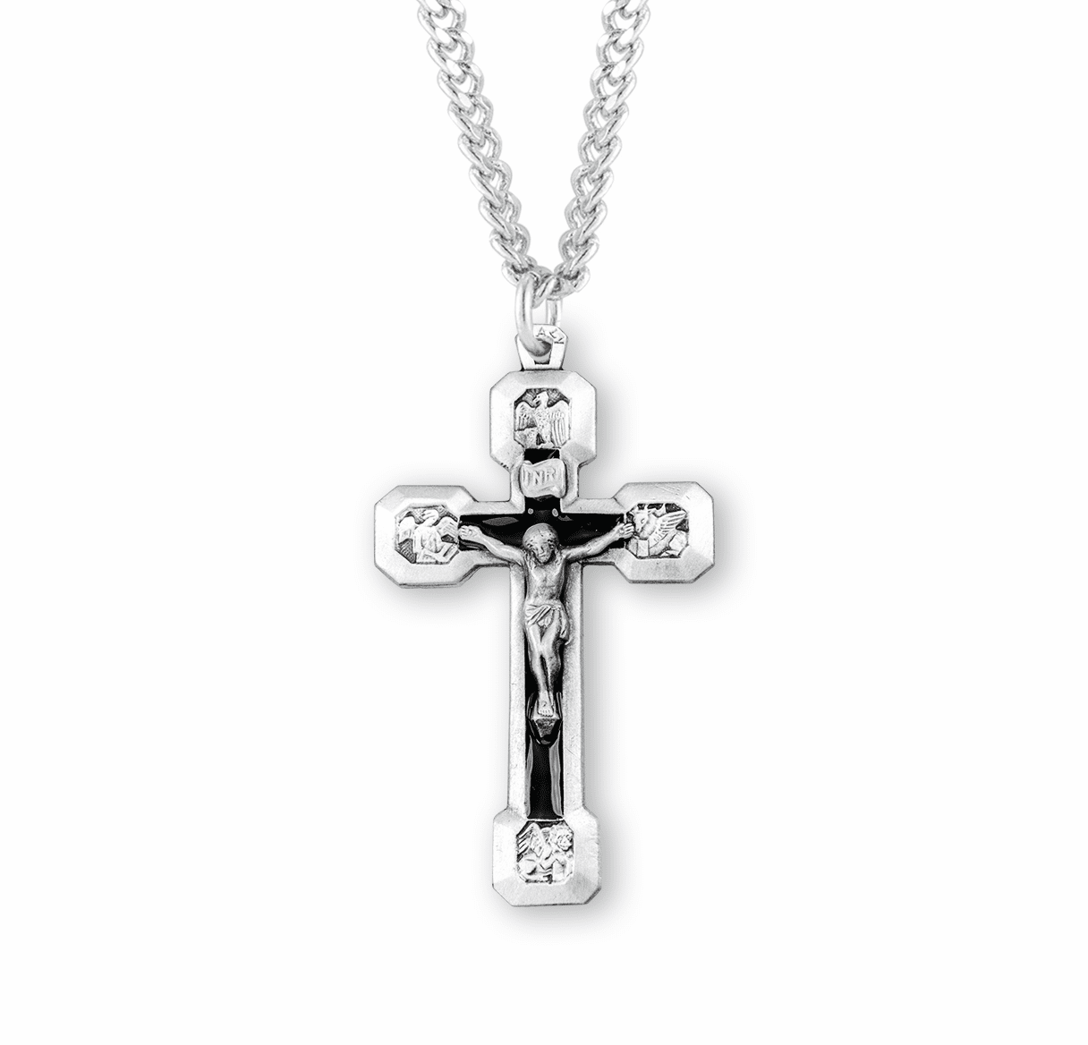 HMH Religious Four Evangelists Sterling Silver Crucifix Necklace