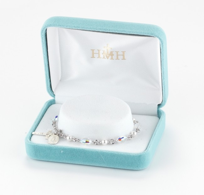 HMH Religious Freshwater and Faux Pearl Charm and Rosary Bracelets