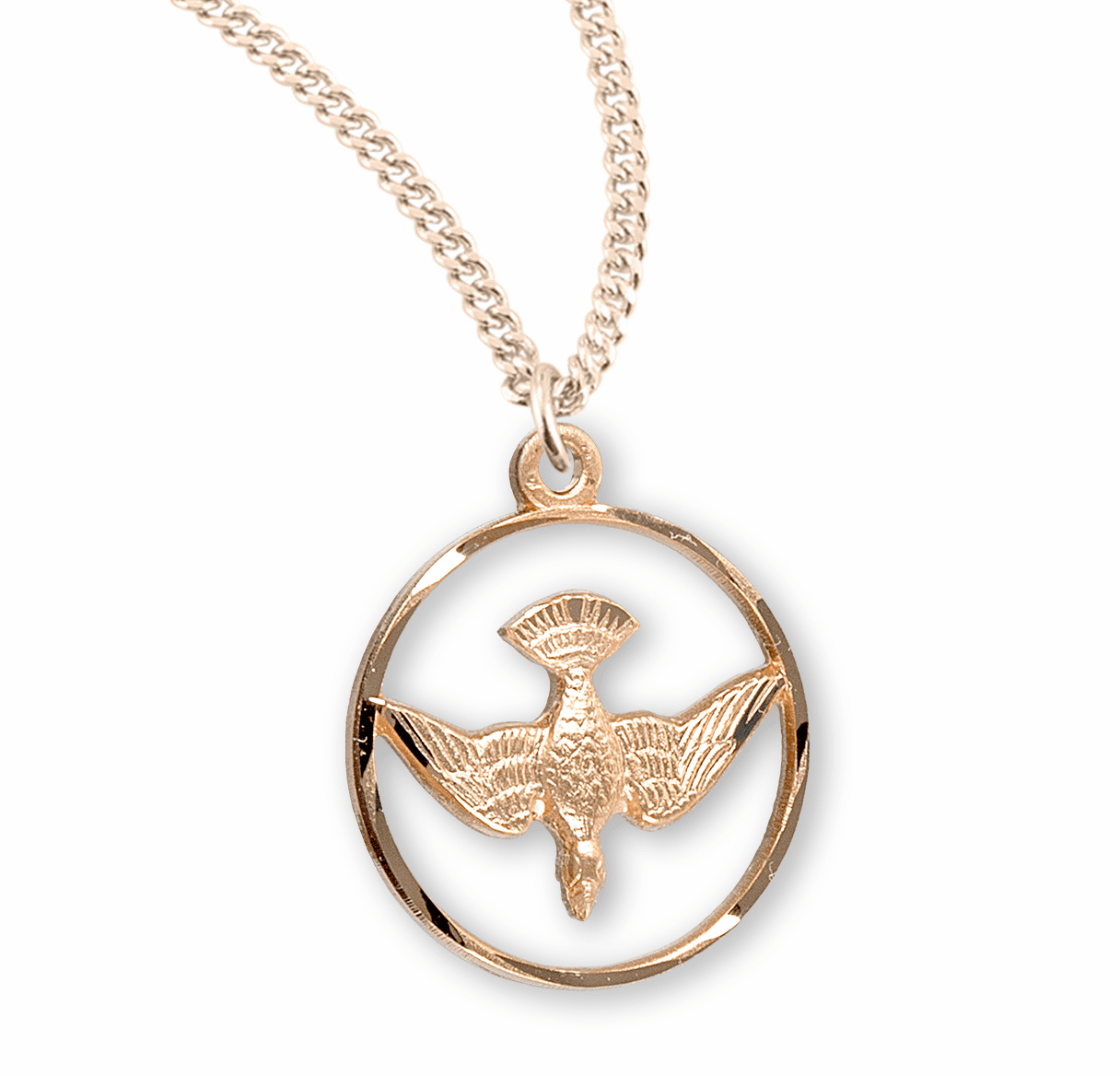 HMH Religious Gold Open Circle with Dove Medal Necklace