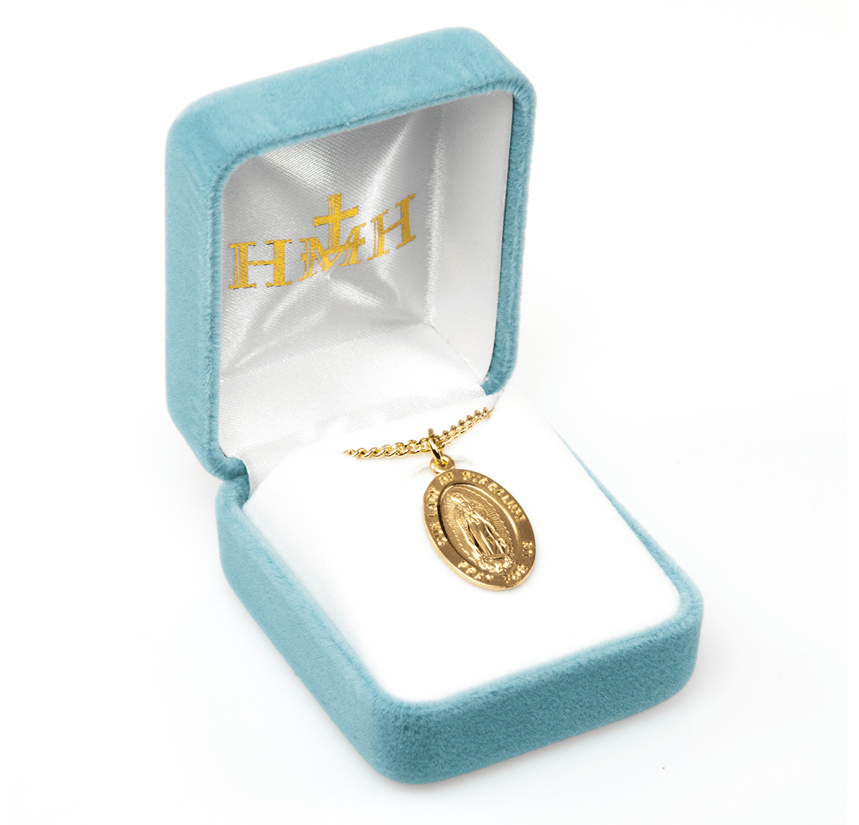 HMH Religious Gold Our Lady of Guadalupe Oval Necklace