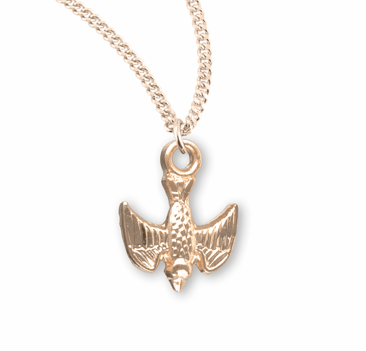 HMH Religious Gold over Sterling Holy Spirit Dove Christian Necklace