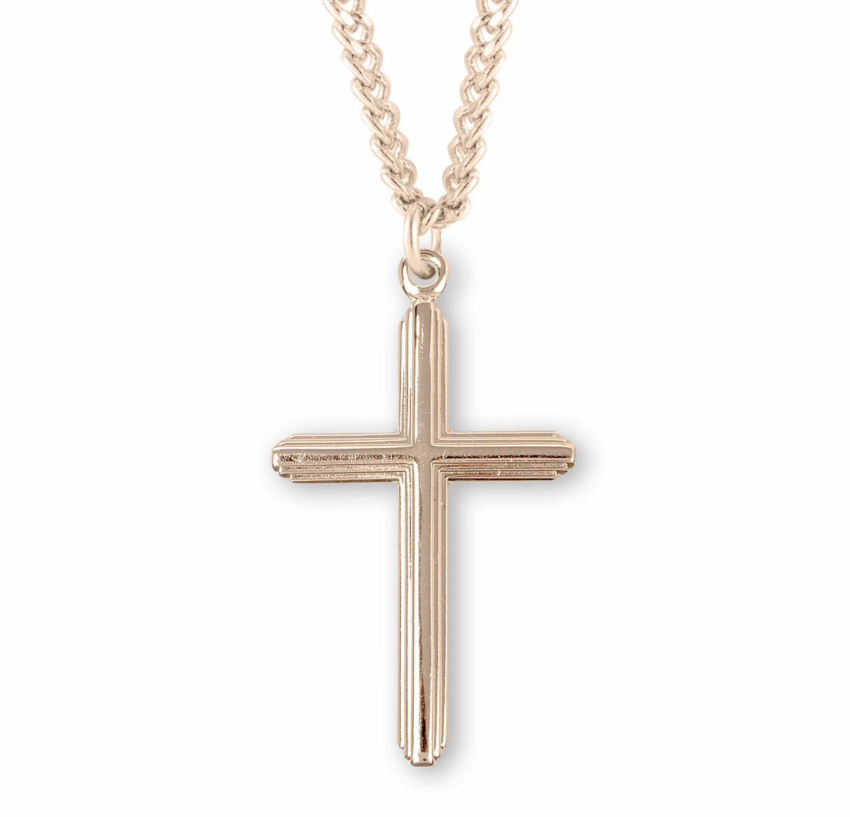 HMH Religious Gold over Sterling Inlayed Cross Necklace