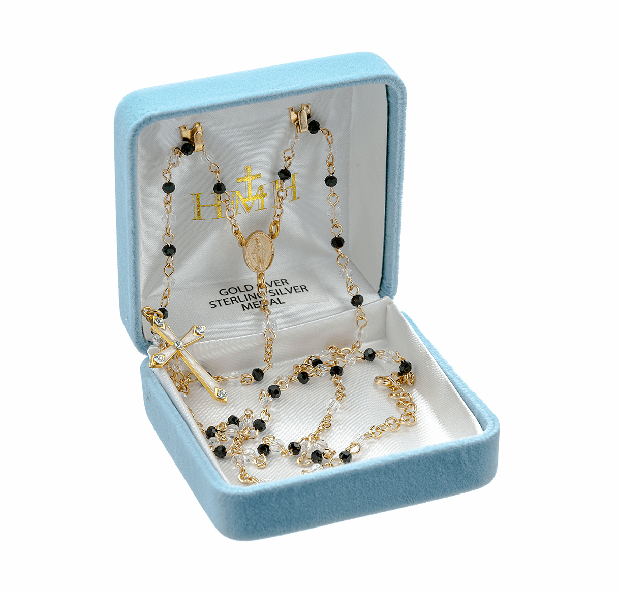 HMH Religious Gold over Sterling Silver Black and Crystal Rosary Necklace w/White Enameled Cross