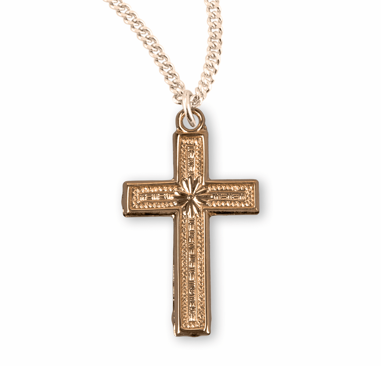 HMH Religious Gold Over Sterling Silver Cross Necklace