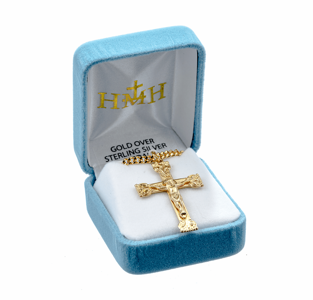 HMH Religious Gold over Sterling Silver Crucifix Necklaces