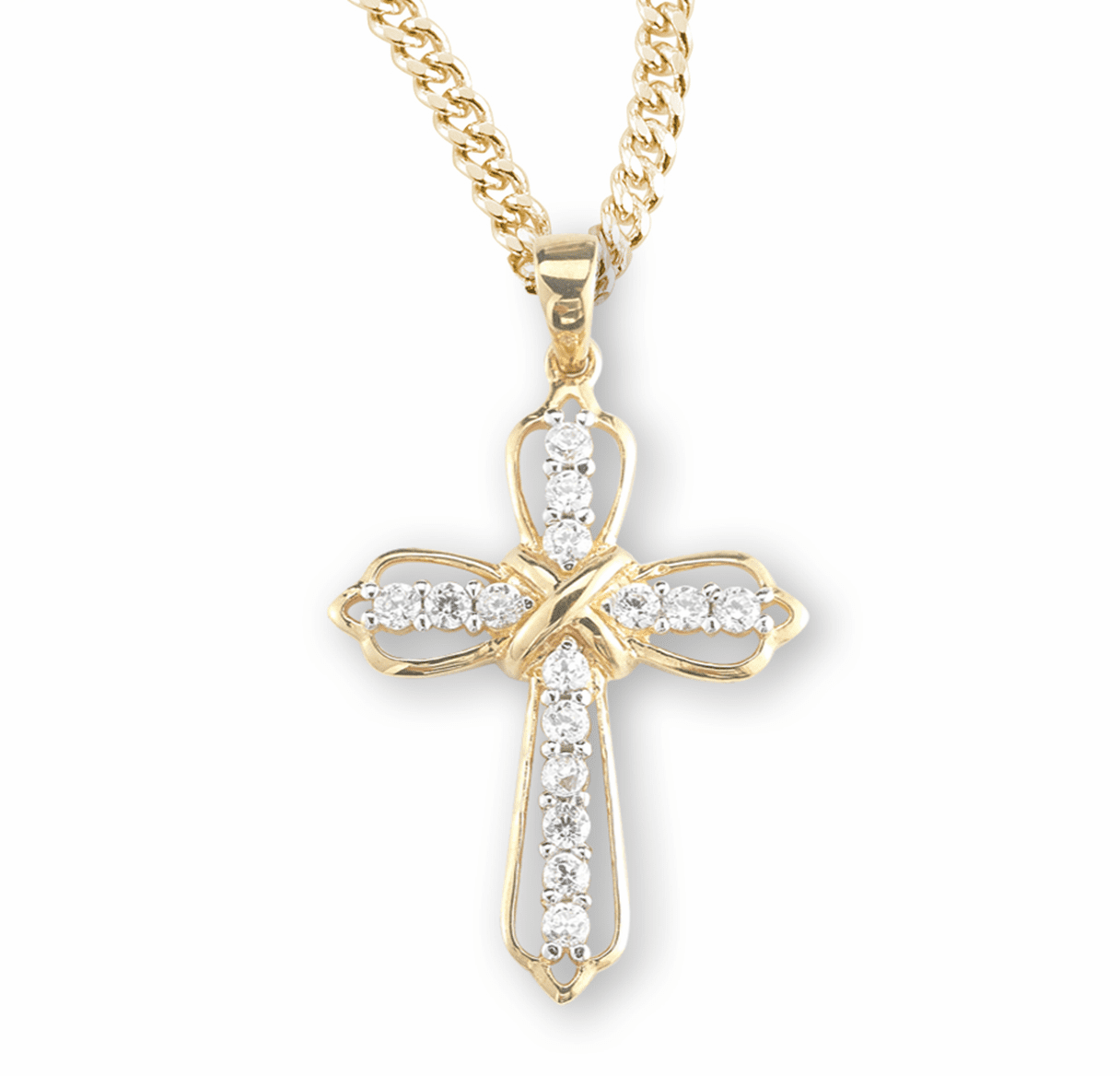 HMH Religious Gold over Sterling Silver Cubic Zircon Crystal Cross Pendant Necklace