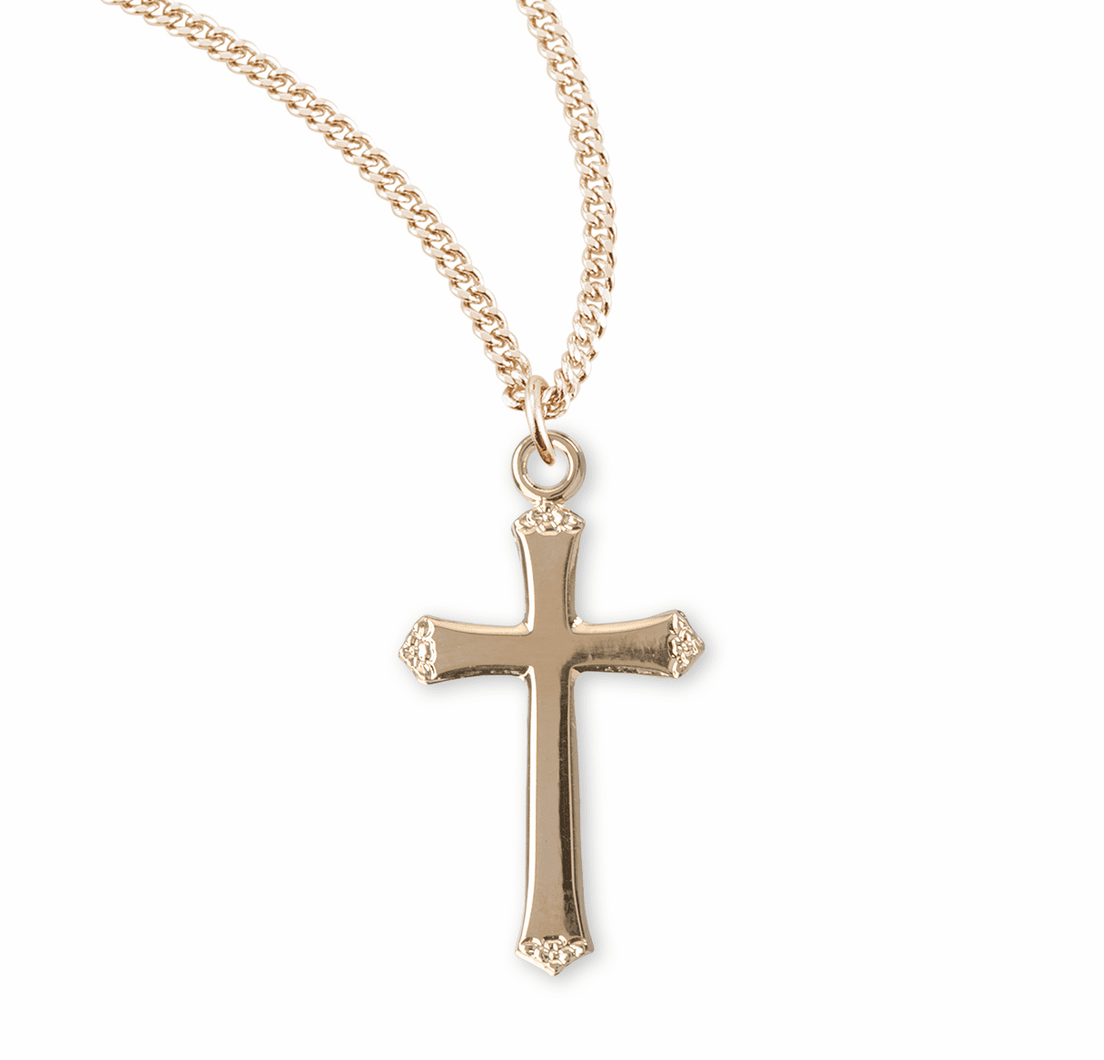 HMH Religious Gold Over Sterling Silver Flower Tipped Cross Necklace
