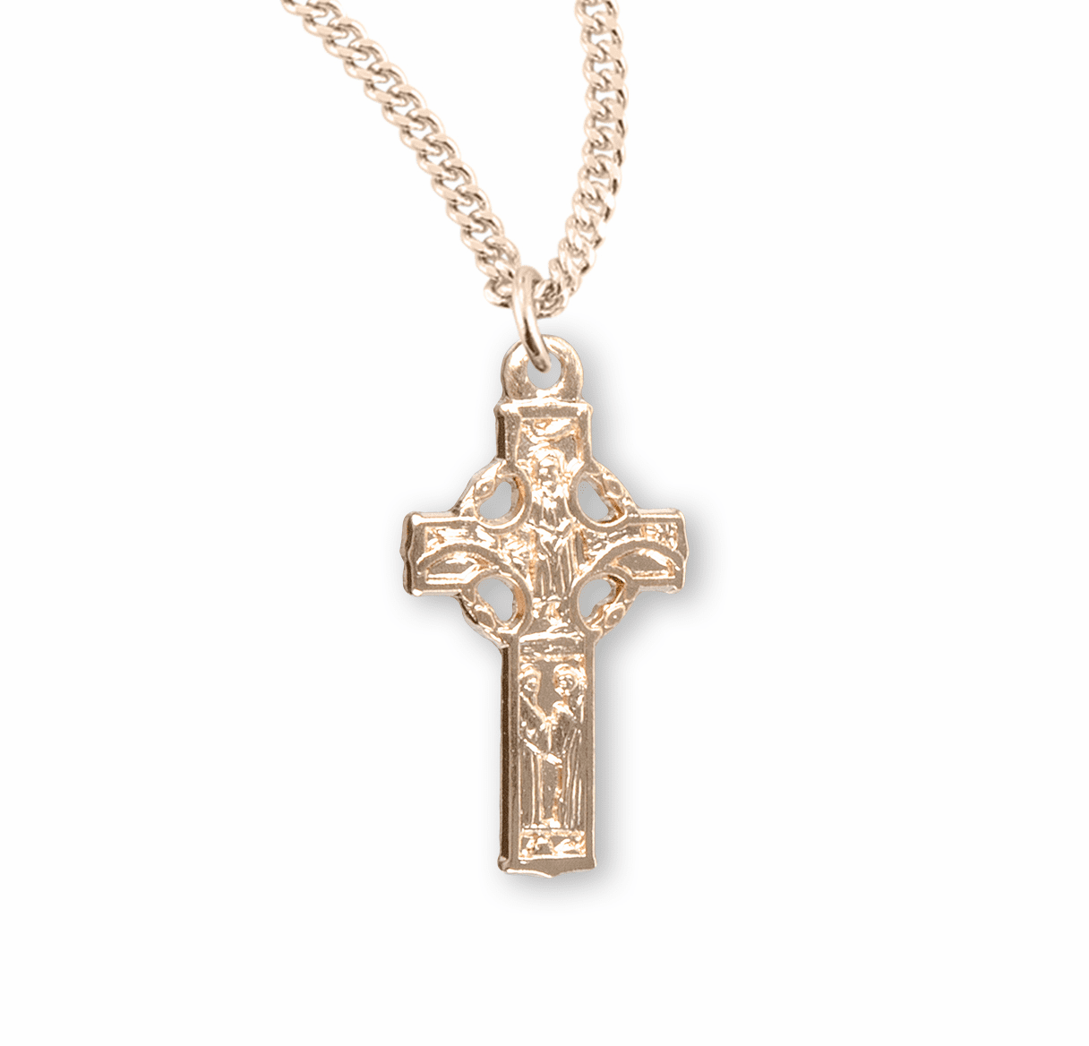 HMH Religious Gold Over Sterling Silver Irish Celtic Cross Necklace