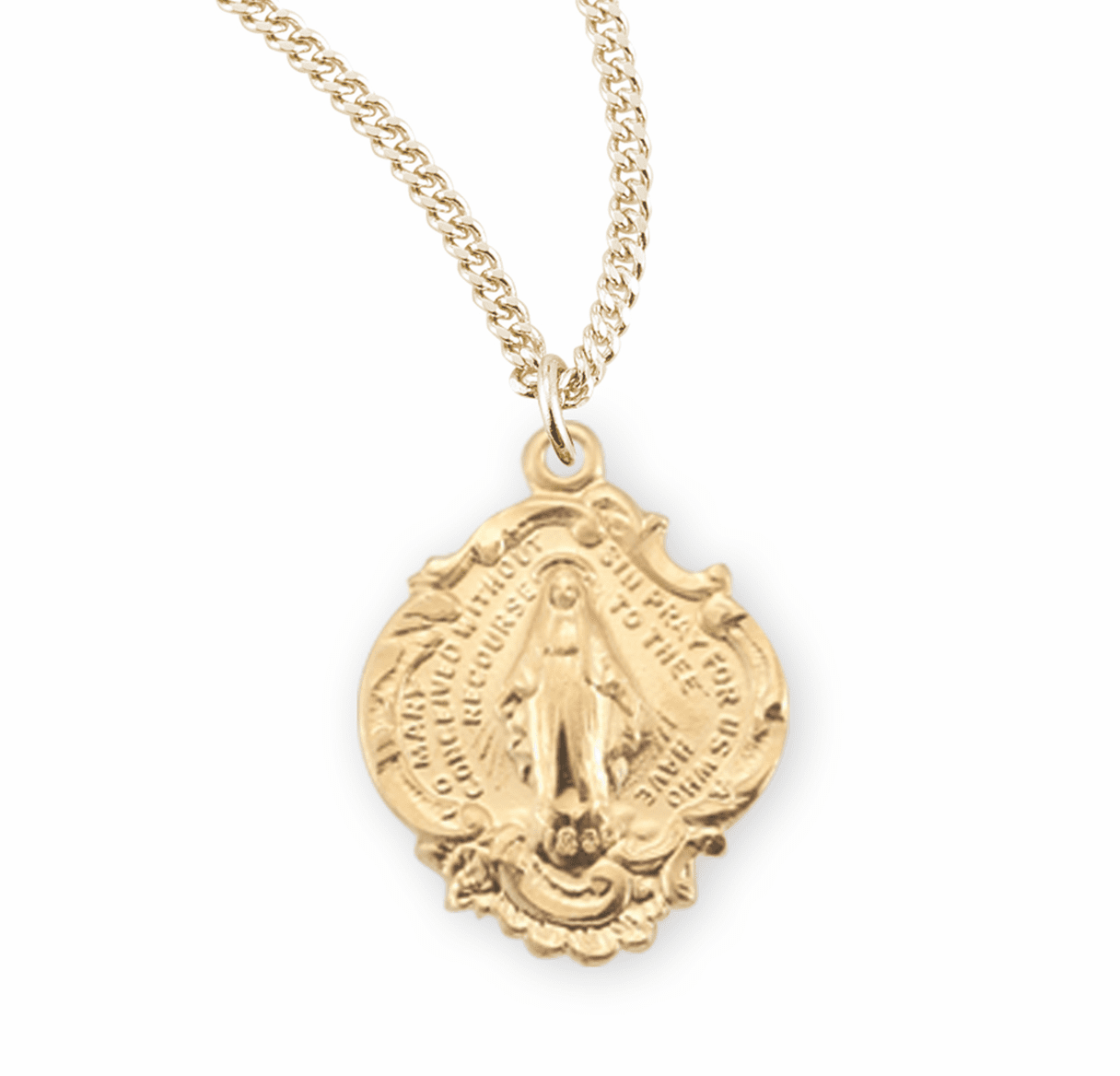 HMH Religious Gold over Sterling Silver Miraculous Medal Necklaces