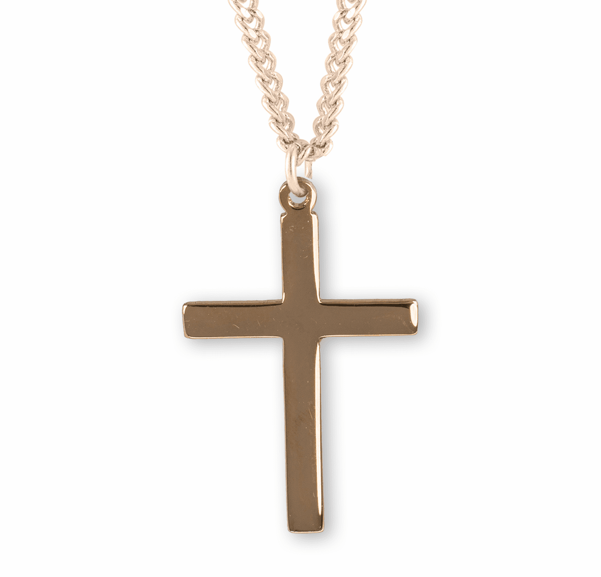 HMH Religious Gold Over Sterling Silver Plain Cross Necklace