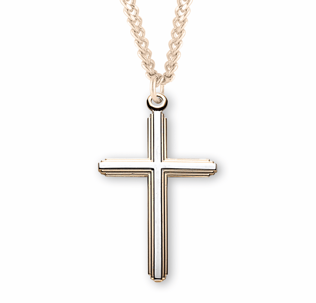 HMH Religious Gold over Sterling Silver Tu-Tone Inlayed Cross Necklace