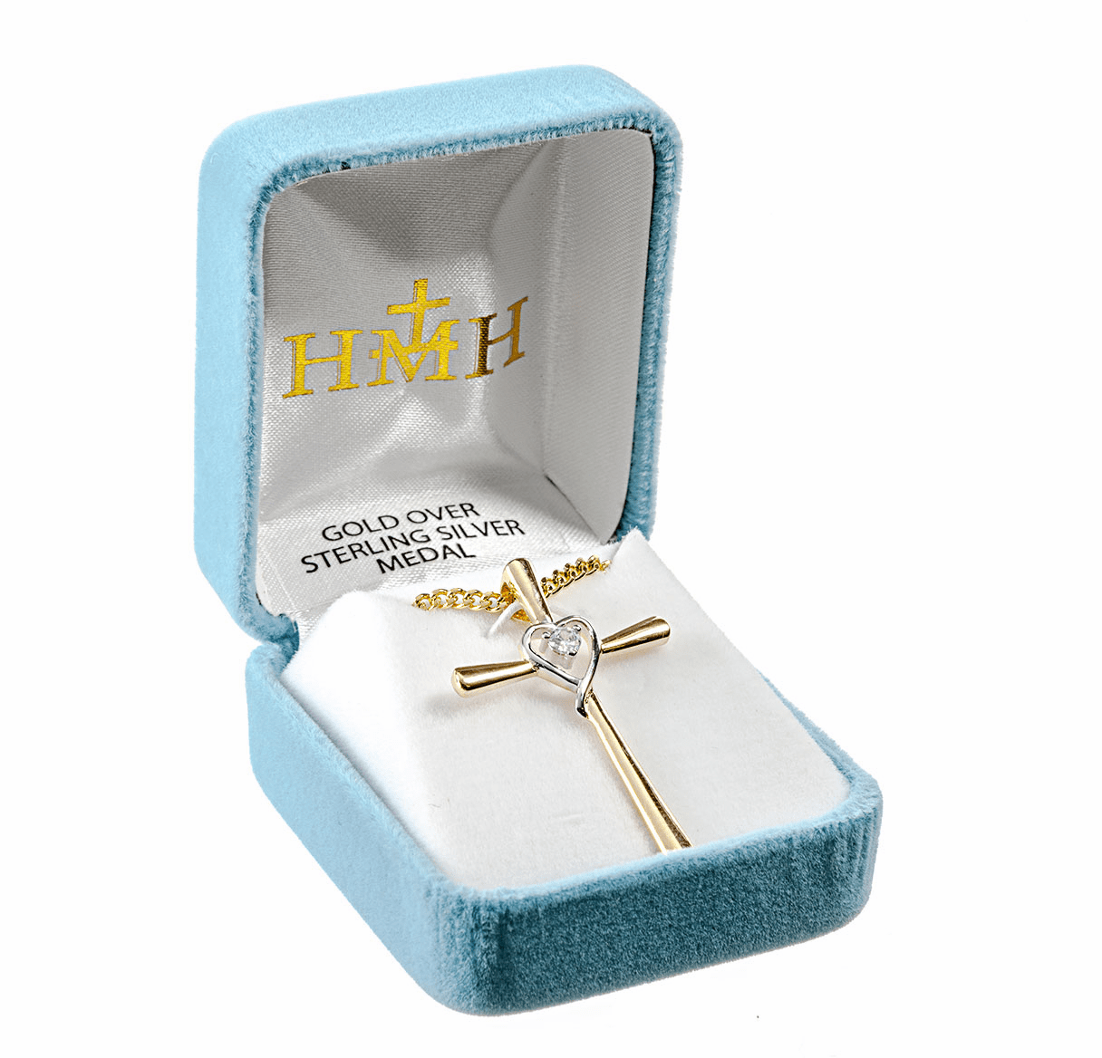 HMH Religious Gold Over Sterling Silver Two Tone Cross with Heart Pendant